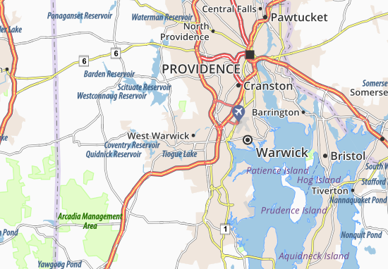 West Warwick Map