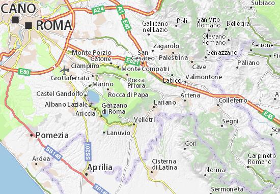 Colli Di Roma Cartina.Mappa Colli Albani Cartina Colli Albani Viamichelin