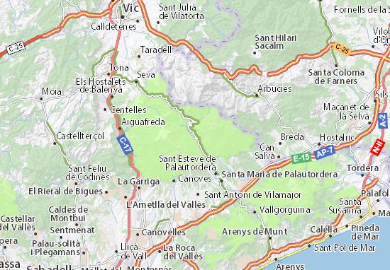 Castellar Del Valles Mapa.Mapa Montseny Plano Montseny Viamichelin
