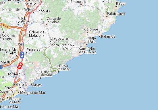 Kaart Plattegrond Sant Feliu de Guíxols