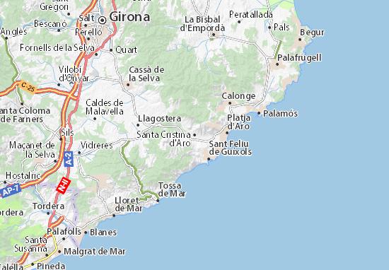 Karte Stadtplan Santa Cristina d'Aro