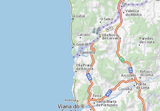 caminha mapa Mapa Caminha   plano Caminha  ViaMichelin caminha mapa