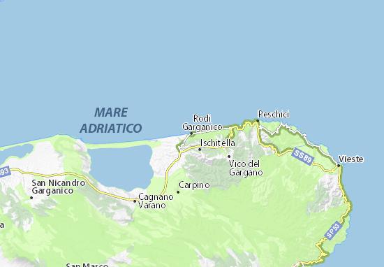 Cartina Puglia Zona Gargano.Mappa Michelin Rodi Garganico Pinatina Di Rodi Garganico Viamichelin