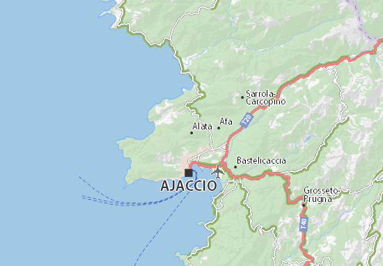 Carte Corse Ajaccio.Carte Detaillee Alata Plan Alata Viamichelin