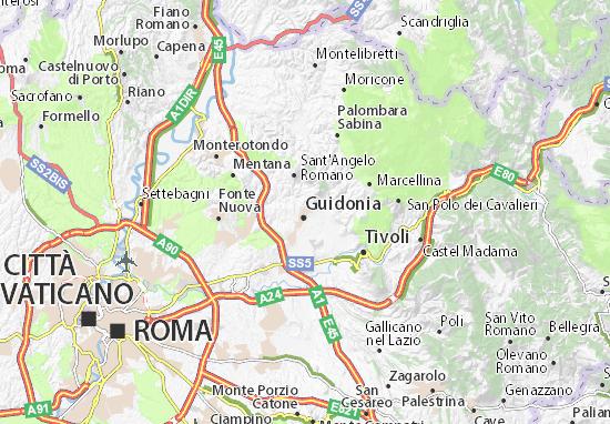 Cartina Geografica Fisica Lazio.Mappa Guidonia Cartina Guidonia Viamichelin