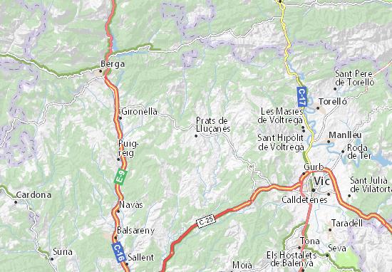 Kaart Plattegrond Prats de Lluçanès