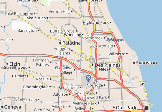 Map of Mount Prospect - Michelin Mount Prospect map - ViaMichelin