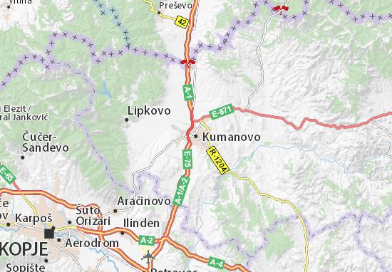 Kaart Plattegrond Kumanovo