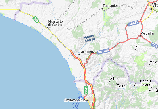 Cartina Italia Civitavecchia.Mappa Michelin Tarquinia Pinatina Di Tarquinia Viamichelin