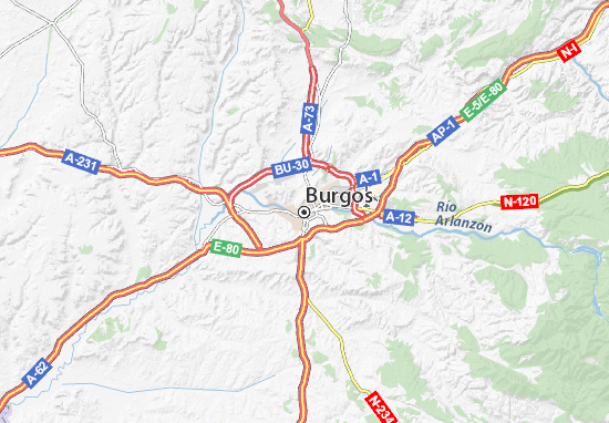 Mapa Turistico Burgos Provincia.Mapa Burgos Plano Burgos Viamichelin