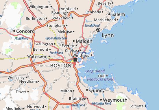Map of East Boston - Michelin East Boston map - ViaMichelin Boston Machusetts Map Usa on