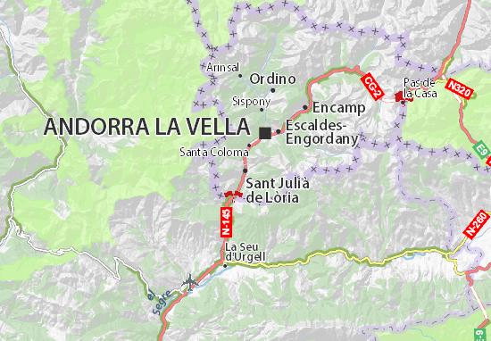 Kaart Plattegrond Sant Julià de Lòria