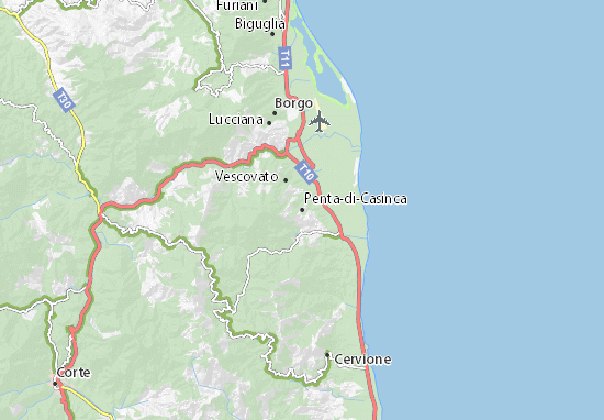 Karte Stadtplan Penta-di-Casinca