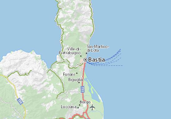 Map of Bastia - Michelin Bastia map - ViaMichelin