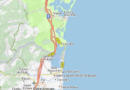 Carte d taill e leucate plage plan leucate plage viamichelin - Cinema port leucate 11370 ...