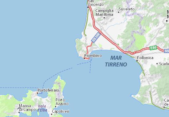 Livorno Cartina Geografica Italia.Mappa Piombino Cartina Piombino Viamichelin