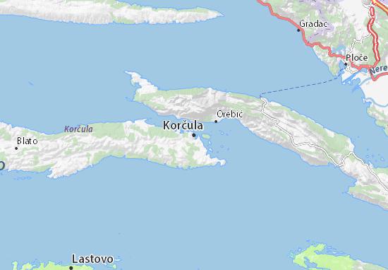 Kaart Plattegrond Korčula