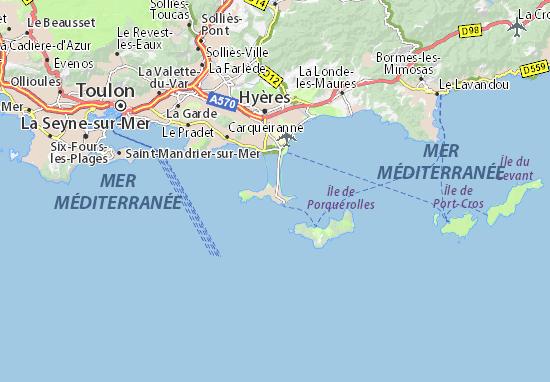 carte presqu île de giens Carte détaillée Presqu'île de Giens   plan Presqu'île de Giens