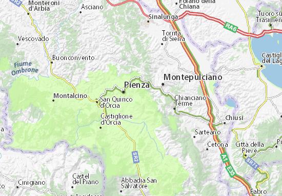 Detailed map of Monticchiello - Monticchiello map - ViaMichelin on