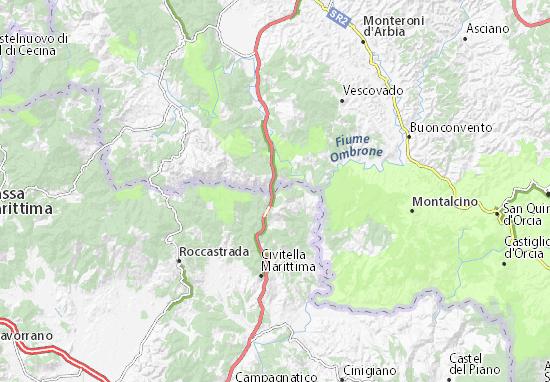 Karte, Stadtplan Bagni di Petriolo - ViaMichelin