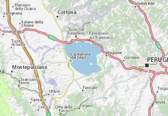 Umbria Cartina Geografica Fisica.Mappa Michelin Lago Trasimeno Pinatina Di Lago Trasimeno Viamichelin