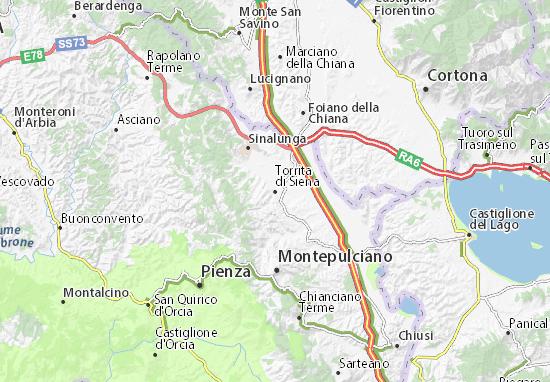Karte Stadtplan Torrita di Siena