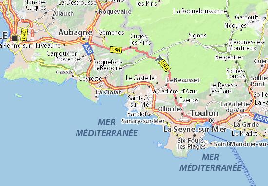 Carte d taill e saint cyr sur mer plan saint cyr sur mer - Office du tourisme saint cyr sur mer ...