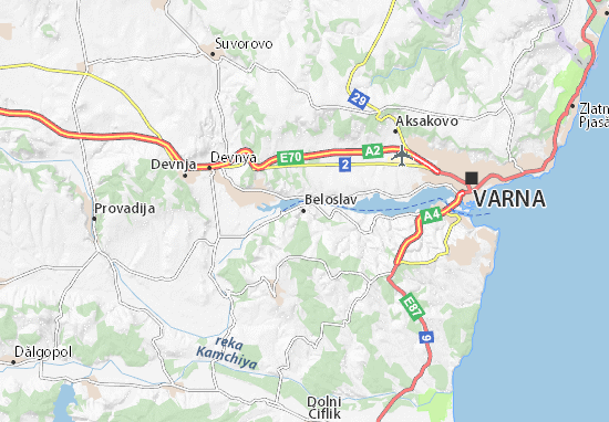 Map Of Beloslav Michelin Beloslav Map ViaMichelin - Varna map