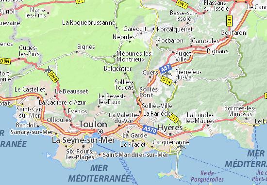 Kaart Plattegrond Solliès-Toucas