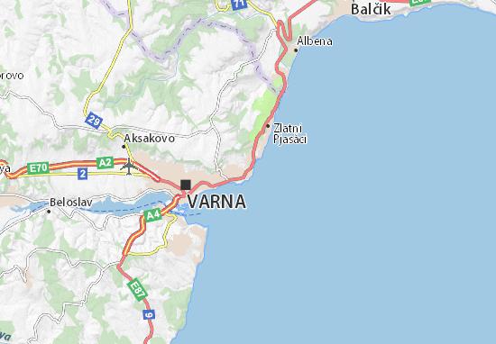 Map Of Sveti Konstantin I Elena Michelin Sveti Konstantin I - Varna map