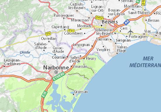 Mapa Plano Salles-d'Aude