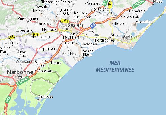 Mapa Plano Valras-Plage
