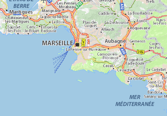 Carte d taill e marseille 09 plan marseille 09 viamichelin for Viamichelin marseille