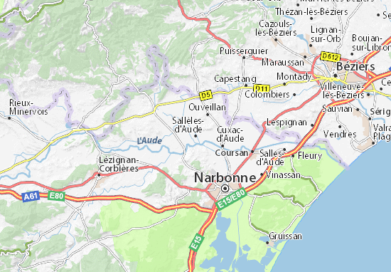Carte-Plan Sallèles-d'Aude