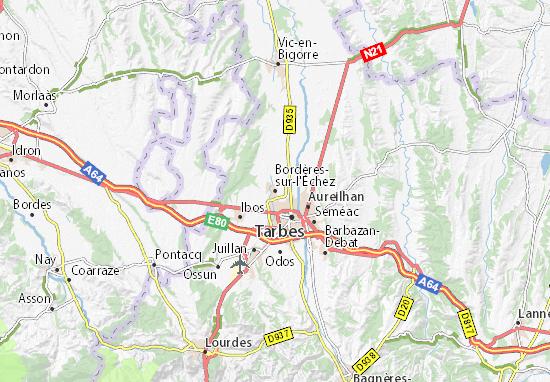 Kaart Plattegrond Bordères-sur-l'Échez