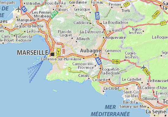 Karte Stadtplan La Penne-sur-Huveaune