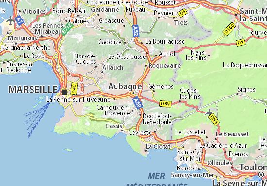 Kaart Plattegrond Aubagne