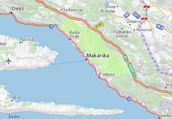 Kaart Plattegrond Makarska