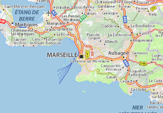 marseille karta Map of Marseilles   Michelin Marseilles map   ViaMichelin marseille karta