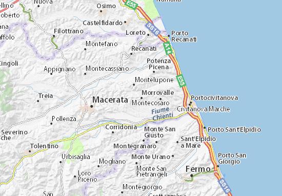 Cartina Stradale Civitanova Marche.Mappa Michelin Morrovalle Pinatina Di Morrovalle Viamichelin