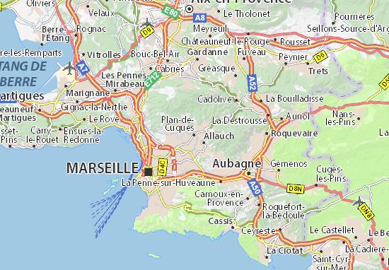 Karte Stadtplan Plan-de-Cuques