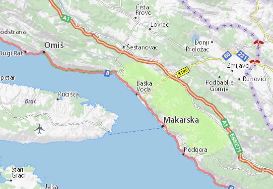 Kaart Plattegrond Baška Voda