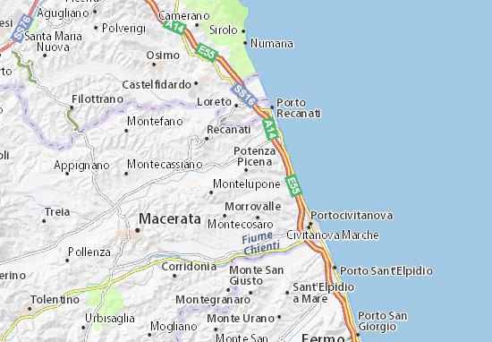 Cartina Stradale Civitanova Marche.Mappa Michelin Potenza Picena Pinatina Di Potenza Picena Viamichelin
