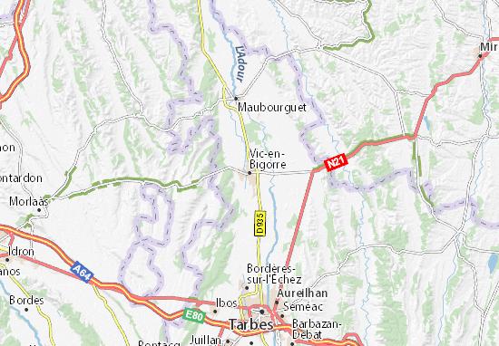 Karte Stadtplan Vic-en-Bigorre