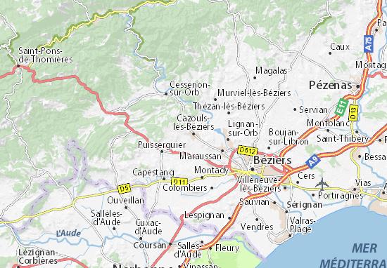 Kaart Plattegrond Cazouls-lès-Béziers