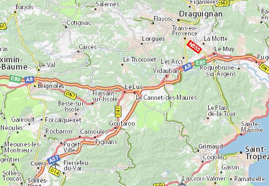 Kaart Plattegrond Le Cannet-des-Maures