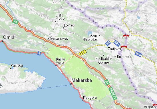 Cartina Stradale Baska Croazia.Mappa Zagvozd Cartina Zagvozd Viamichelin