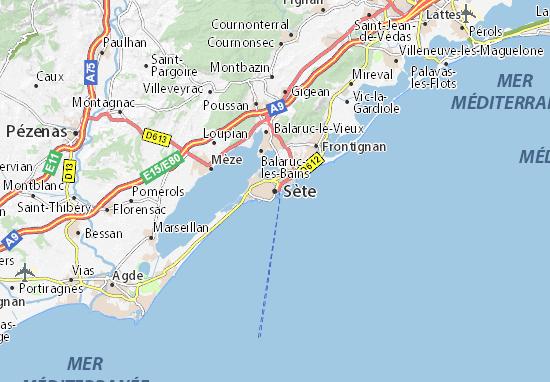 Kaart Plattegrond Sète