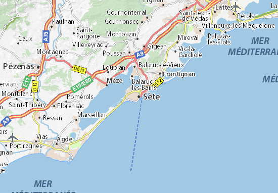 Karte stadtplan s te viamichelin for Garage sete route de montpellier