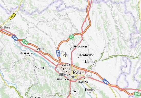 Karte Stadtplan Sauvagnon